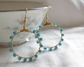 Turquoise and Gold Hoop Dangle Earrings Free Shipping