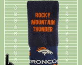 Denver Broncos towel, Denver Broncos golf towel, embroidered