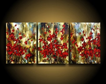 Modern Abstract Painting by THE RAW CANVAS Encaustic Painting Triptych Asian Painting Canvas Art on Red Flowers textured Art Encaustic Art