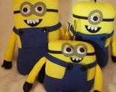Minion Dolls Minion Doll with 3D Eyes, Yellow and Blue Minion Plush Doll, Minion Toy Doll, Minion Blue and Yellow Doll, Handmade Minion
