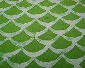 Green Silk Batik Fabric, Silk Linen Material 14 by 17 inches