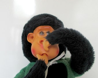 Stuffed Monkey with Fingers in ears, nose, mouth Lots of fun Plush Animal Monkey Vintage