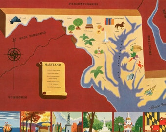VIntage Pictorial Map of Maryland 1939 World's Fair