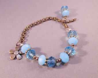 Antique Gold Chain and Aqua Blue Crystal Beaded Charm Bracelet