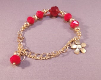 Gold Chain and Red Crystal Beaded Charm Bracelet