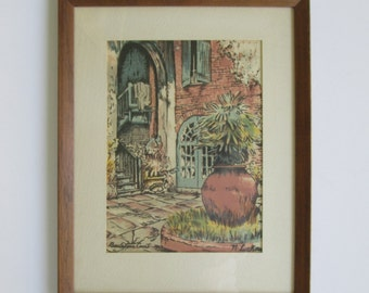Lovely Courtyard Watercolor Framed Picture
