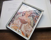 Vintage Mucha Print and Picture Frame * Metal Photograph Frame * Whitewash Gold metal Stamped * mucha print inside