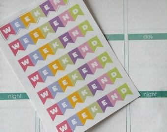 7 Weekend Stickers, Fits Erin Condren Life Planner, Stickers, Planner Stickers