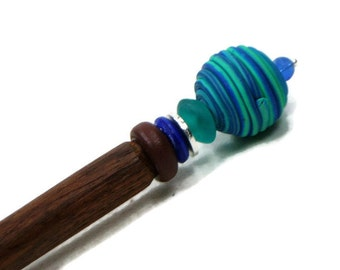 Laying Tool Sewing Stiletto Beaded Striped Blue Green Needlepoint Quilting Tool Shawl Pin Hairstick