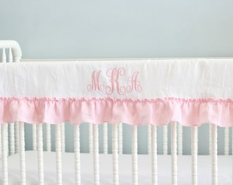 IRIS ...ruffled crib rail cover with monogrammed (1 long side only)