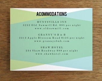 Printable Wedding Card Template - Blue Green Geometric - Wedding Information Card - Rehearsal Dinner Invitation  - Printable Info Card