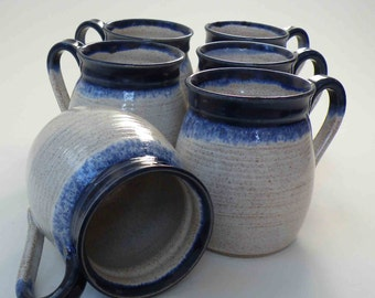Set of 6, MADE TO ORDER Coffee Mugs, You Pick the Glazes, Six Handmade Stoneware Mugs, Wheel Thrown Set of Kitchen Coffee Cups
