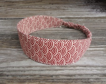 SALE Fabric Headband: Red and Beige