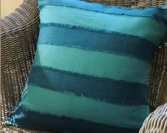 Teal and sea green linen fringed nautical stripe beach coastal living colorful decorative home decor pillow cover