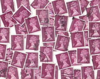 50 x Maroon Queen Elizabeth British Postage Stamps from United Kingdom