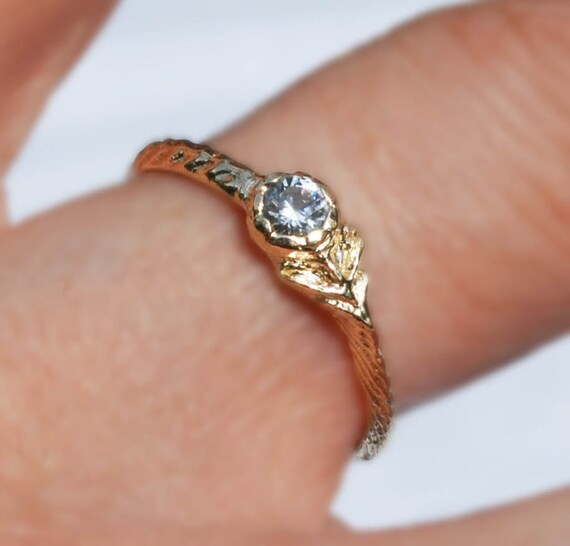 Solid Yellow Gold & White Sapphire Tiny Flower Ring
