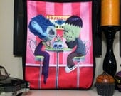 Monster Date Tote Bag -  Frannie and Sheldon - Frankenstein and his Bride Ice Cream Date