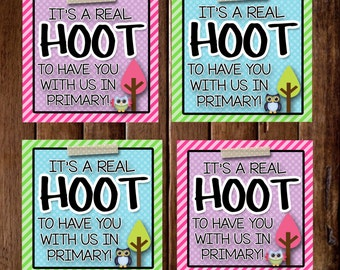 LDS Primary- It's A Real Hoot To Have You With Us In Primary- (6) 3x3 Cards- Instant download