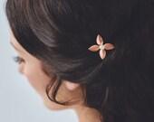 Rose Gold Hair Accessories | Blush Wedding Hair Accessories | Pink Leaf Bridal Hair Comb [Léa Hairpin: Rose Gold]