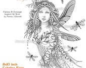 Dragonflies Fairy  - Fairy Tangles Grayscale Printable Coloring Pages by Norma J Burnell 8x10 Coloring pages for Adults Dragonfly Fairies