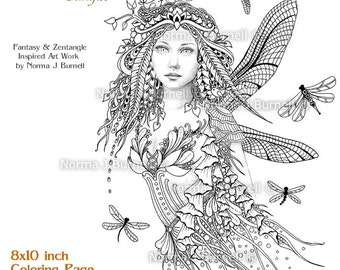 dragonflies fairy fairy tangles grayscale printable coloring pages by norma j burnell 8x10 coloring pages - Fantasy Coloring Pages Adults