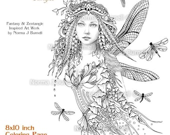 dragonflies fairy fairy tangles grayscale printable coloring pages by norma j burnell 8x10 coloring pages - Fantasy Coloring Books For Adults