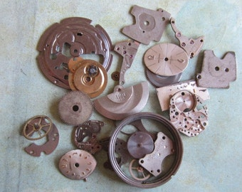 Vintage WATCH PARTS gears - Steampunk parts - u46 Listing is for all the watch parts seen in photos