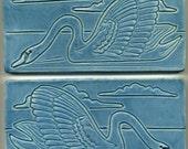 "Pair of Ceramic Swan Art Tiles   Both 4"" x 8""  Decorative Two Tile Set in blue-green glaze"