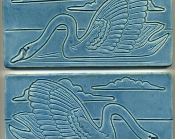 "Pair of Ceramic Swan Art Tiles   Both 4"" x 8""  Decorative Two Tile Set in blue-green glaze"