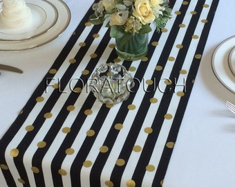 White and Black Striped with Gold Dots Table Runner Wedding Table Runner