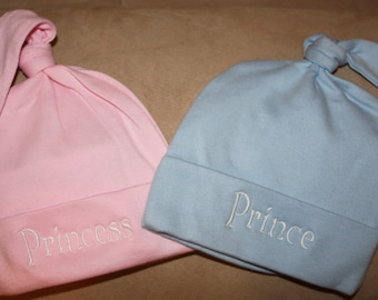 Personalized Custom Embroidered Personalized Baby Knot Hat Cap Beanie. Hospital homecoming. newborn baby. baby shower gift. Prince. Princess