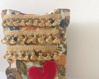 Fall Tote/ Handbag/ Vintage Fabric/ Fringe/ Velvet Heart