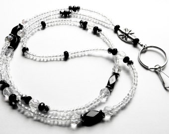 Beaded Lanyard, ID Badge Holder, Aurora Borealis Crystal and Jet Black Glass, Lanyard, Keychain, Eyeglass Chain, Keyholder Necklace