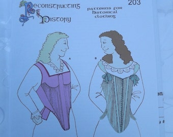 Late Elizabethan Paires of Bodys Corsets Sewing Pattern Reconstructing History Clothing Pattern   Rh 203