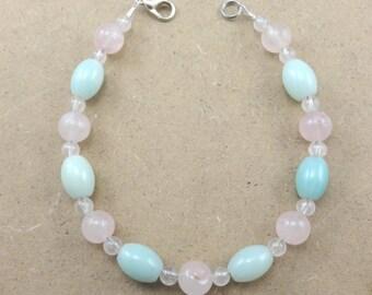 Rose Quartz, Amazonite Bracelet