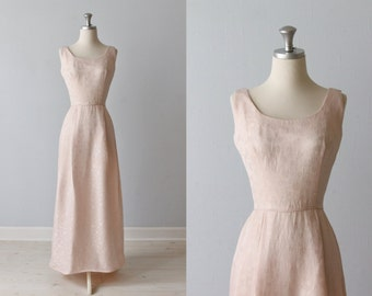 1960s Dress / Pink Formal Dress / Sleeveless / Full Length Gown / China Cup
