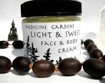 natural face cream- light and sweet face and body cream-- freshly made, organic, nourishing and moisturizing