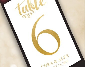 Table Number Wine Label....Faux Gold Foil