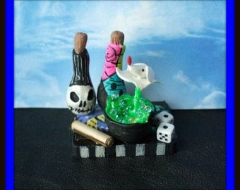dollhouse miniature Gothic Witch Spell tray NBC inspired Potion ooak Glows in Dark Can be custom made too