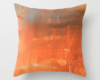 Abstract paint effect pillow, abstract art pillow, orange decor pillow, pink artsy pillow, abstract art cushion, texture rust sofa pillow