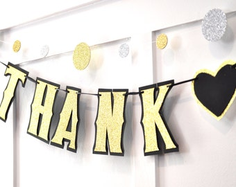 Thank You Banner, Thank You Wedding Banner, Thank You Wedding Photo Prop, Gold Wedding Banner, Gold Glitter Photo Prop, Bridal Photo Prop