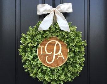 BOXWOOD WREATHS, Wreaths, Wreath, Wedding Monogram Wreaths, Front Door Wreaths,Boxwood Monogram Wreaths,Monogram Letter Wreaths,Faux Boxwood