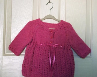 Knitted Pink Baby Cardigan/Sweater with Ribbon
