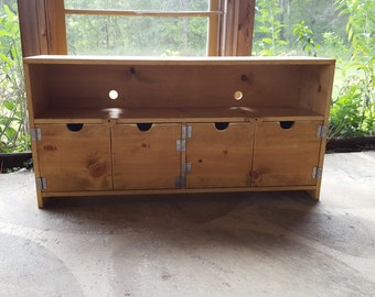 """Reclaimed Wood look Furniture 48"""" wide Media Console tv stand Barn Wood Look TV Cabinet Storage Entertainment Center distressed Primitive"""