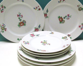 Haviland Limoges 8 Plates Vintage China Ch Field Limoges Luncheon Salad Dessert Bread Plate Lot DBA France Red Blue Flower CFH605 Tea Party