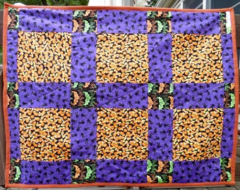 Baby Playmat - Crib Blanket - Baby's First Halloween - Stroller Blanket - Crib Quilt - Travel Blanket - Reversible Quilt - Halloween Quilt