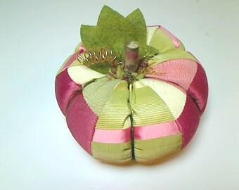 Size 6 | Celery Green/Mauve/Rose Fabric Pumpkin | Halloween Decor | Primitive Folk Art | Autumn/Fall Decor | Holidays | Handmade USA |#6