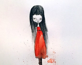 Medium Art Print - 'Edina' - Dark Haired Girl in a Red Dress - 11x17 OR 13x19 sized print by Jessica von Braun - Watercolor