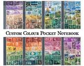 Upcycled Traveler's Notebook, CUSTOM COLOURS - A6 Pocket Travel Journal, Vintage Postage Stamp Collage Art - boho travel gift, memory book