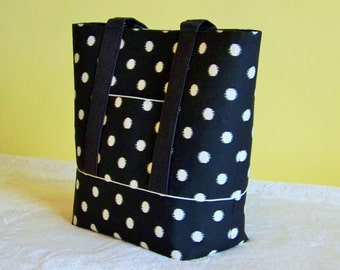 LARGE TOTE Canvas, Carry All, Bible Book Tote, Work Laptop Tote, Weekender, Teacher, Diaper Bag. Charming Polka Dots & Black Canvas.